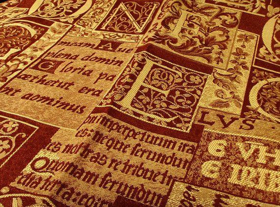 Dark Burgundy Red Jacquard Fabric Upholstery Medieval Latin Script