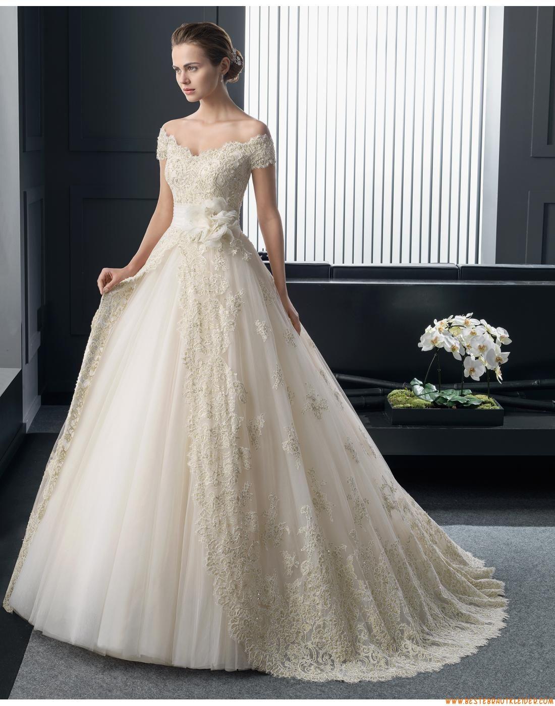 Prinzessin Außergewöhnliche Extravagante Brautkleider aus Softnetz mit Applikation