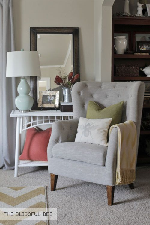 SOURCES: Tuffted Chair: TJ Maxx (Read How I Stained The Legs, Here)  Industrial Coffee Table: Learn How To Build It Here Blue Pen Art: DIY (read  Post Here) ...