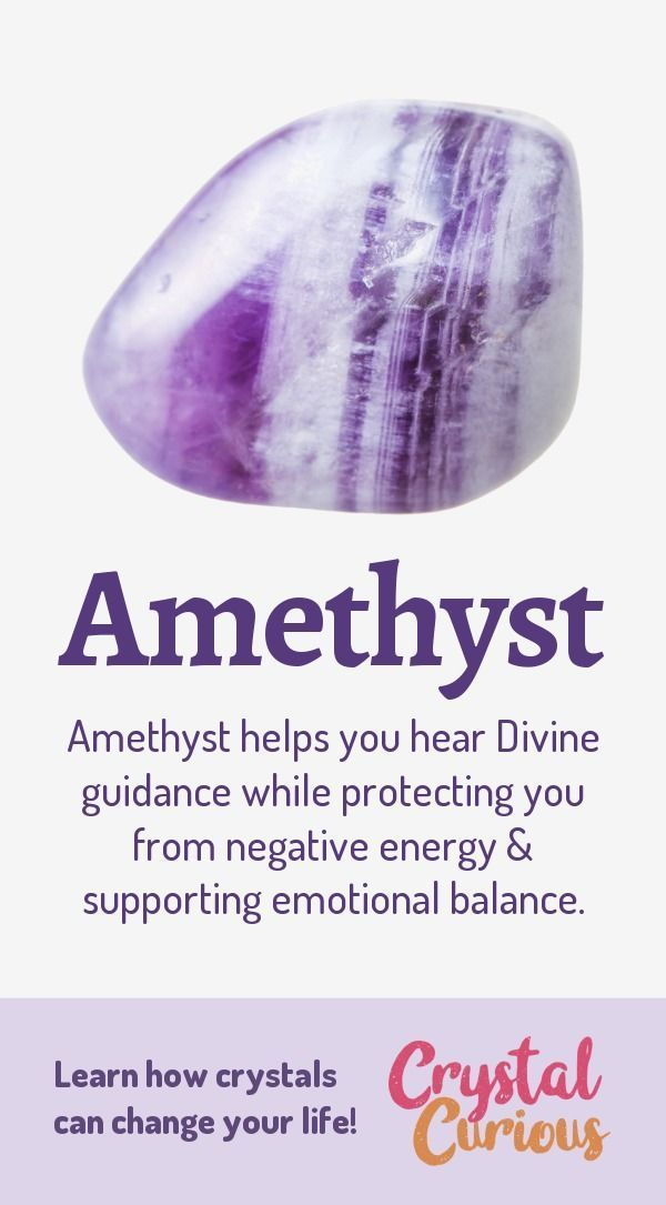 Amethyst Healing Properties & Benefits #crystalhealing Amethyst helps you hear Divine guidance while protecting you from negative energy & supporting emotional balance. Learn more about healing crystals and gemstones... #crystalhealing