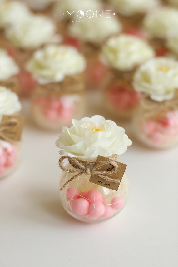 Photo of Set von 10 Hochzeitsbevorzugungen erröten, Glas mit Bonbons und Blume, …