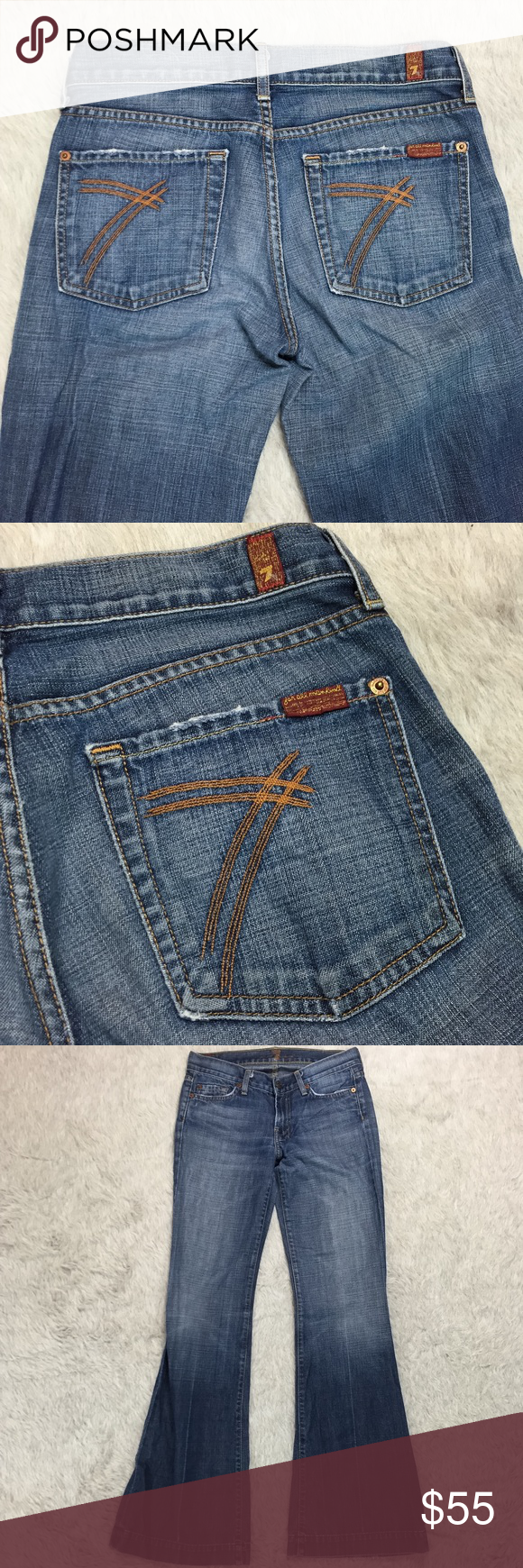 7fam vintage orange dojos Awesome vintage orange dojo pocket 7fam jeans. Wide/flare leg. Hems have some wear on the back as pictured and inside printed logo is cracked/faded. In otherwise excellent condition. Approximate flat lay measurements: waist 15in, length 42in, inseam 33in, front rise 8in. 7 For All Mankind Jeans Flare & Wide Leg