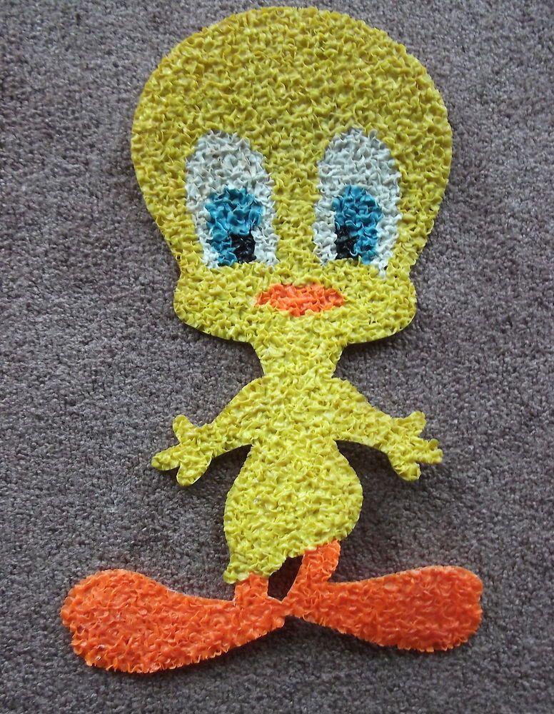 Vintage Melted Plastic Popcorn Tweety Bird Wall Hanging Decor Warner ...