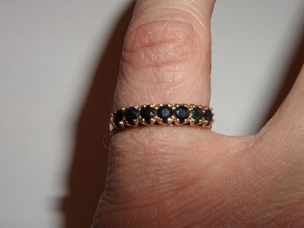 Estate 10k Yellow Gold Midnight Blue Sapphires Ring Size About 7 1 4 Signed Ci Blue Sapphire Rings Sapphire Ring Ring Size