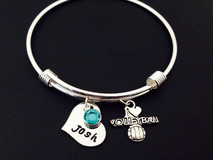 I Love Volleyball Bracelet Personalized Bangle Bracelet Etsy Adjustable Bangle Bracelet Personalized Bangle Bracelet Adjustable Bangle