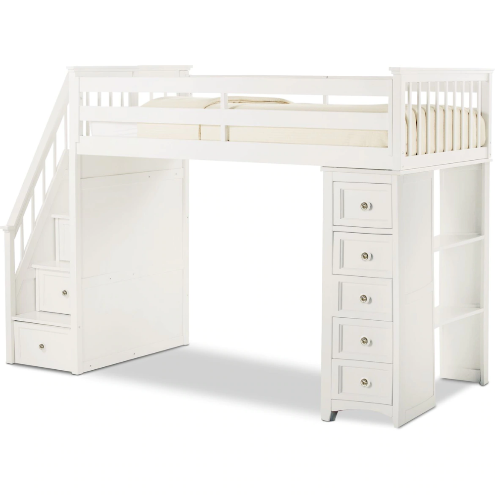 white loft bed with stairs