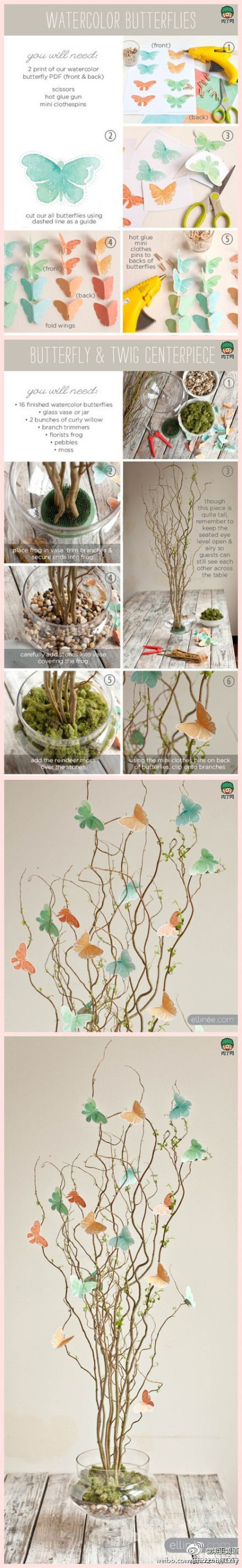 Creative fake flower production - with a branch table flowers and paper butterflies DIY tutorial (rpm)