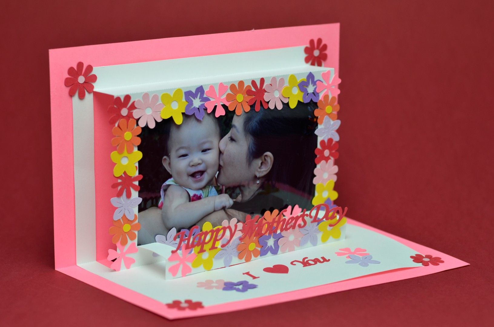 Flower Frame Pop Up Card Template Creative Pop Up Cards Pop Up Card Templates Pop Up Cards Diy Pop Up Cards