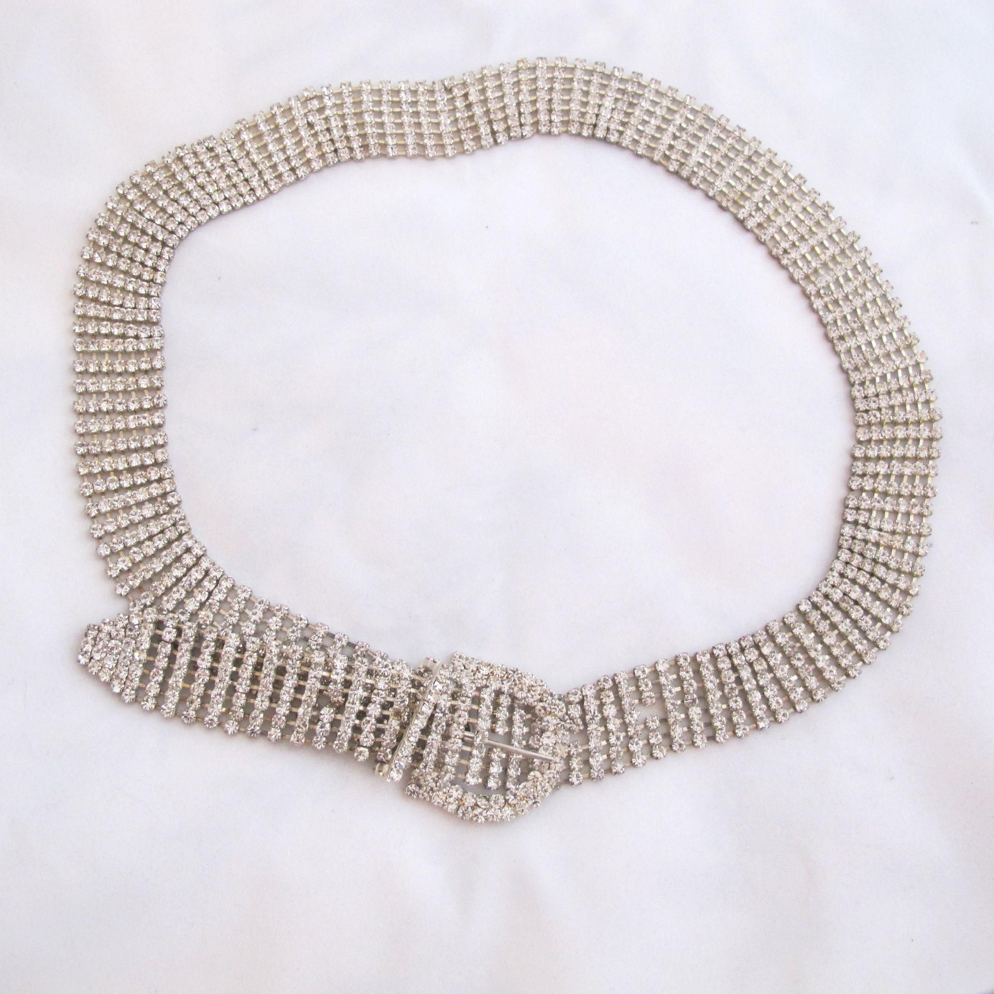 Vintage Clear Rhinestone Belt - Large
