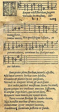 """Tempus adest floridum"" in the 1582 Finnish song collection Piae Cantiones. The plainsong formed the basis for the carol ""Good King Wenceslas""."