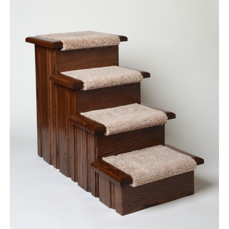 Oak Carpeted Raised Panel 3 Step Dog Stairs In Walnut Finish Dog Stairs Dog Steps For Bed Pet Stairs