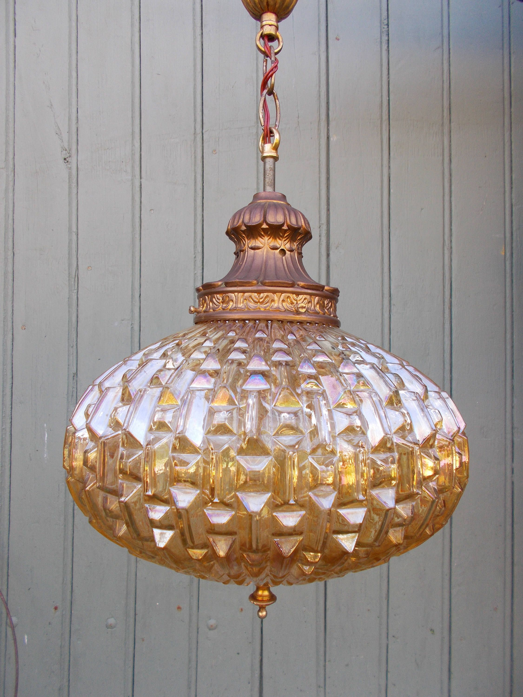 etsy lighting pendants. Vintage Amber Glass Hanging Light Pendant Lamp Mid-Century By MeliMeloByNat On Etsy Lighting Pendants C