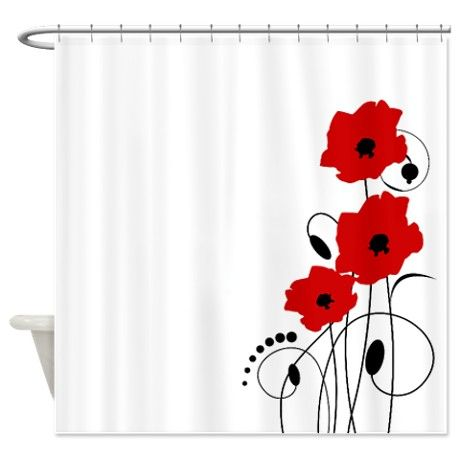Red Poppies Shower Curtain on CafePress.com | One of a Kind Shower ...
