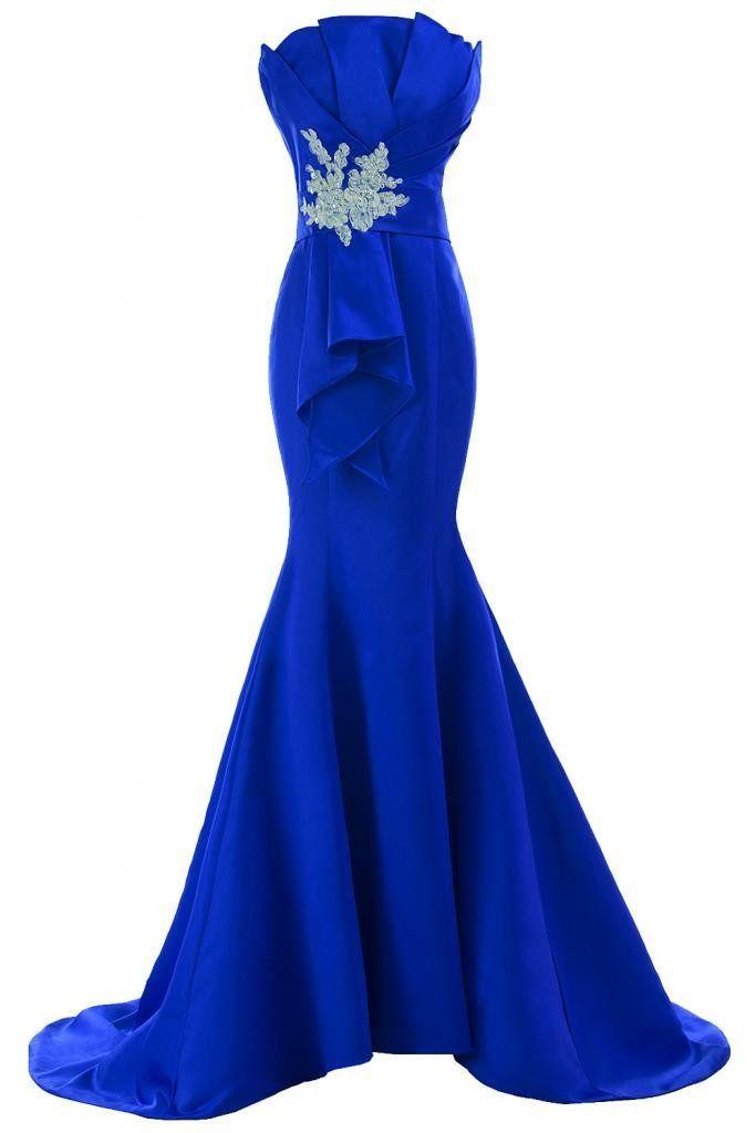 Sunvary Neu Mermaid Traegerlos Abendkleider Lang Satin Ballkleider ...