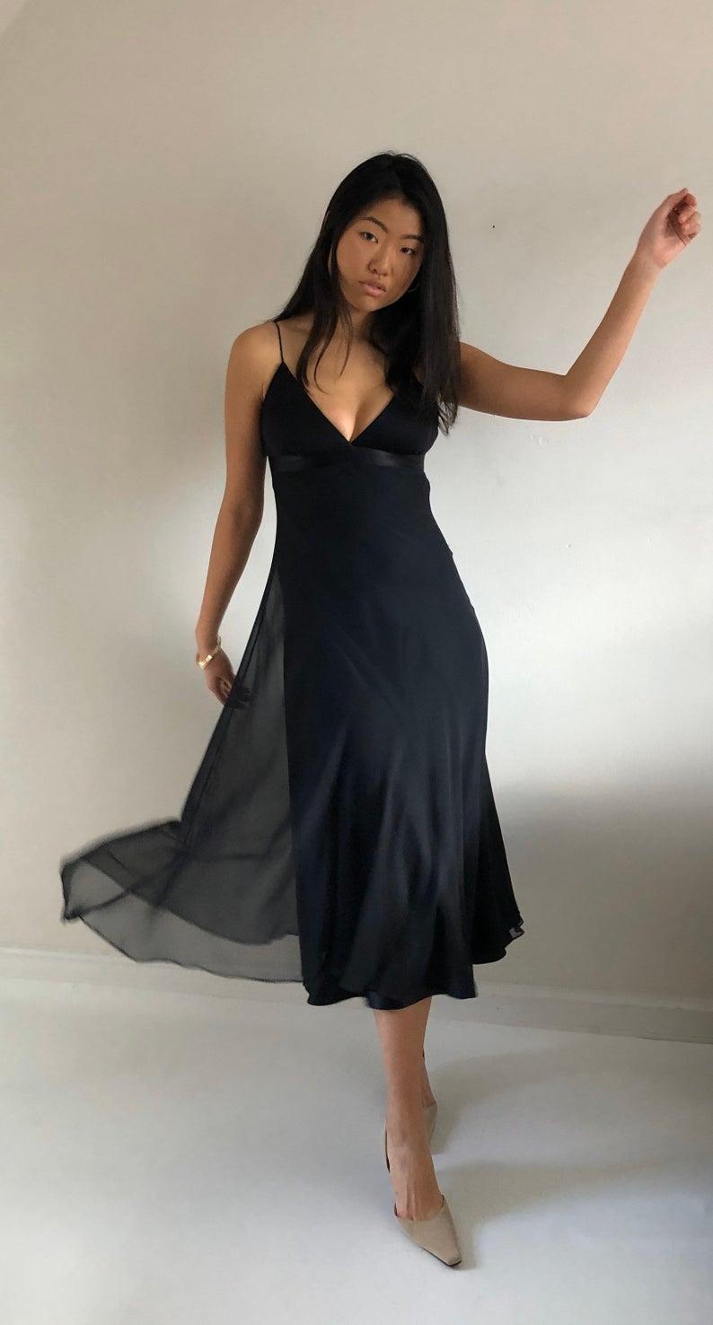 90s Silk Chiffon Long Slip Dress Vintage Black Silk Ankle Etsy Long Slip Dress Vintage Dresses Long Black Dress [ 1476 x 794 Pixel ]