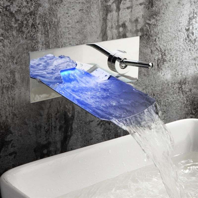 Water Led Bathroom Tap Faucet Temperature Color Changing Led Waterfall Deck Mount Bathroom Sink Faucet Icon2 Lux Sink Faucets Basin Mixer Taps Bathroom Basin