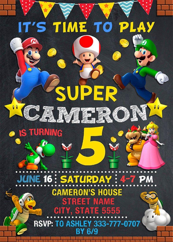 Super Mario Invitation, Super Mario Birthday Invitation