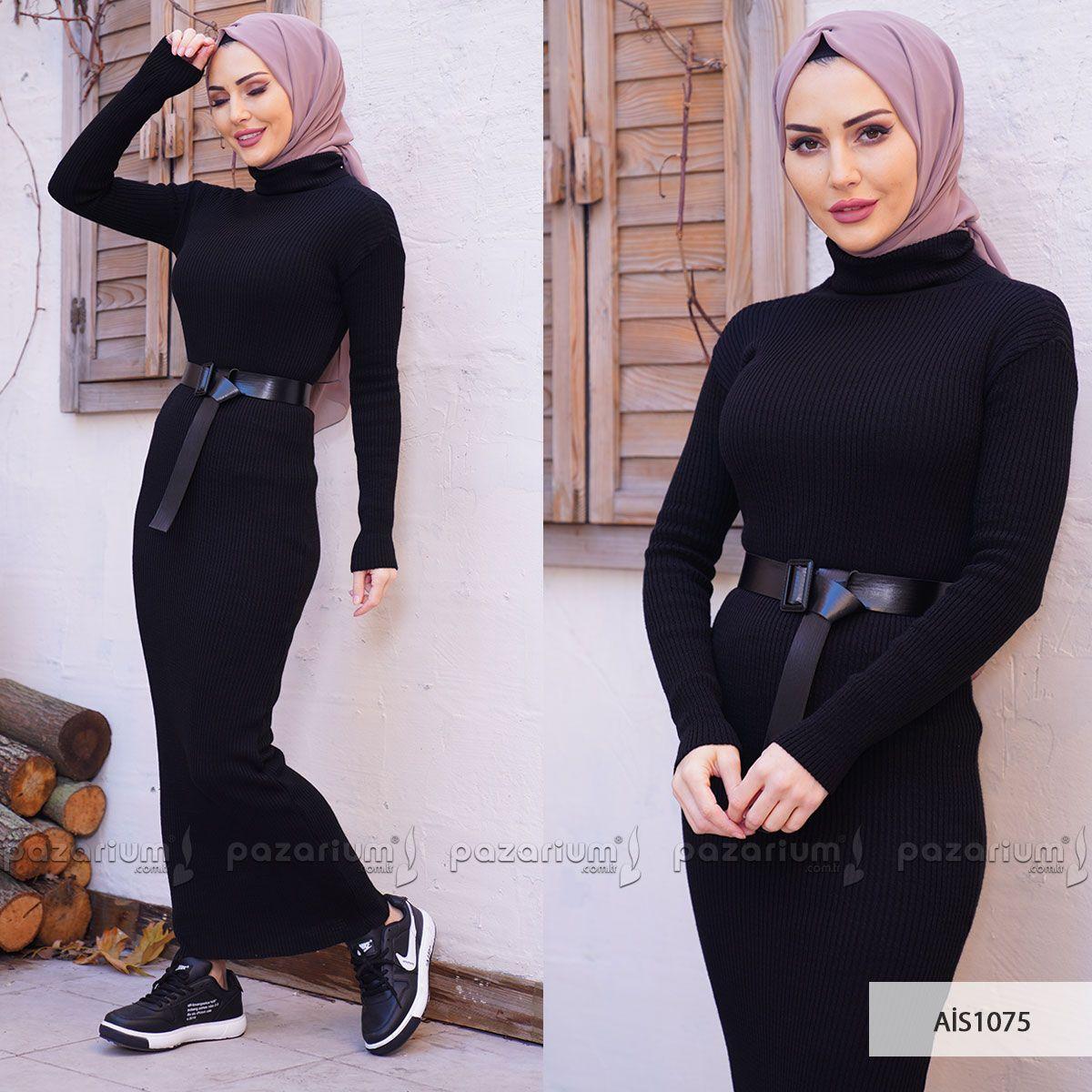 Siyah Renkli Triko Elbise Yeni Sezon Modelleri Arasinda Yer Almaktadir Kullanimi Oldukca Rahat Olan Triko Elbise Esnek Kumas Yapisin Moda Stilleri Moda Elbise