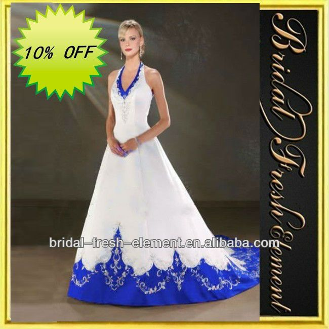 Trendy Hot Sale Long Noble Satin Halter V neck Embroidery Royal Blue And White Wedding Dresses