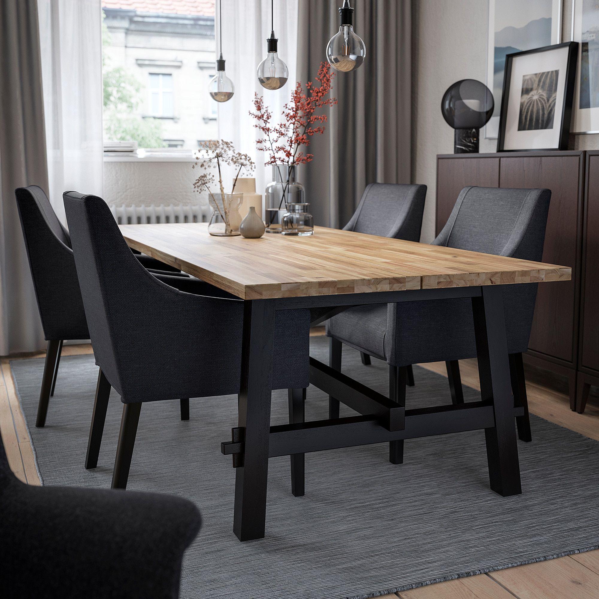 Skogsta Sakarias Table And 4 Chairs Acacia Black Sporda Dark