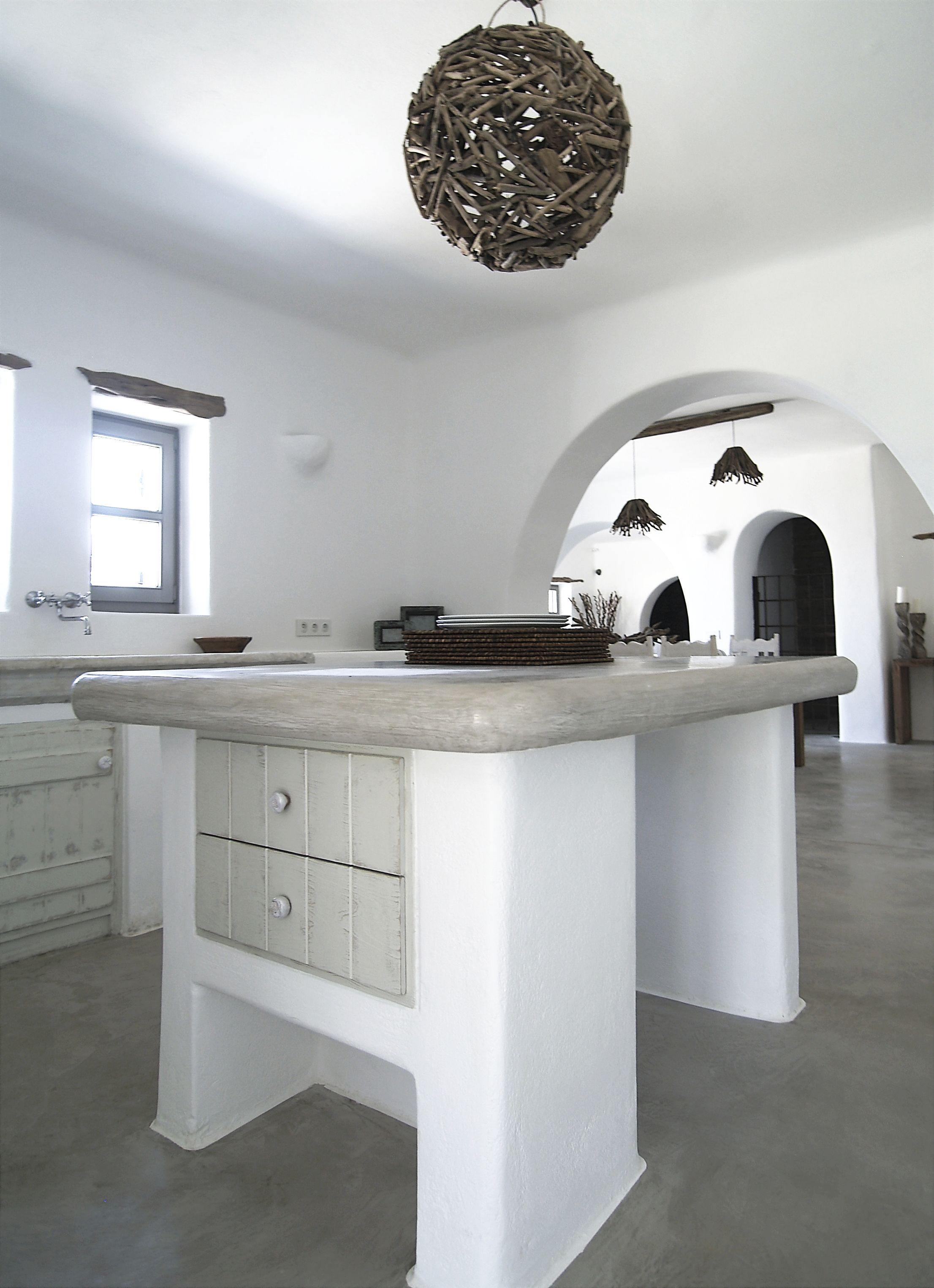 Paros Greece. Kitchen Island Cement Mortar