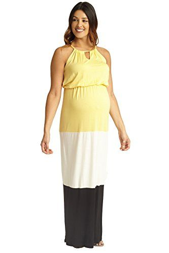 94a6e78e69 PinkBlush Maternity Yellow White Black Colorblock Halter Maxi Dress Large  ** Click image to review more details.Note:It is affiliate link to Amazon.