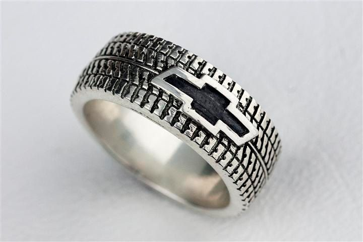 Car Tire Tread Ring Wedding Band Personalized Sterling Silver