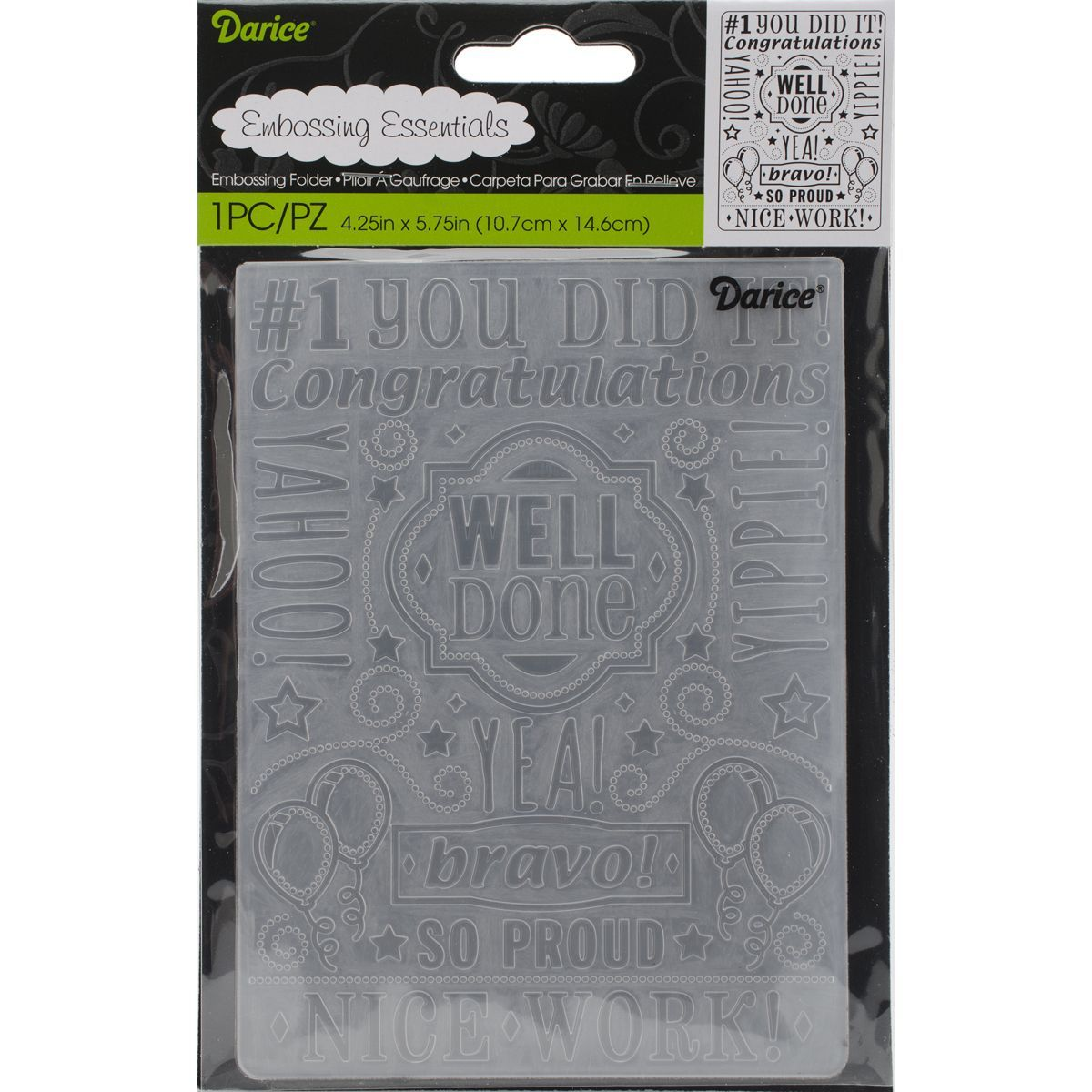 Darice Embossing Folder 4.25inX5.75inCongrats Collage