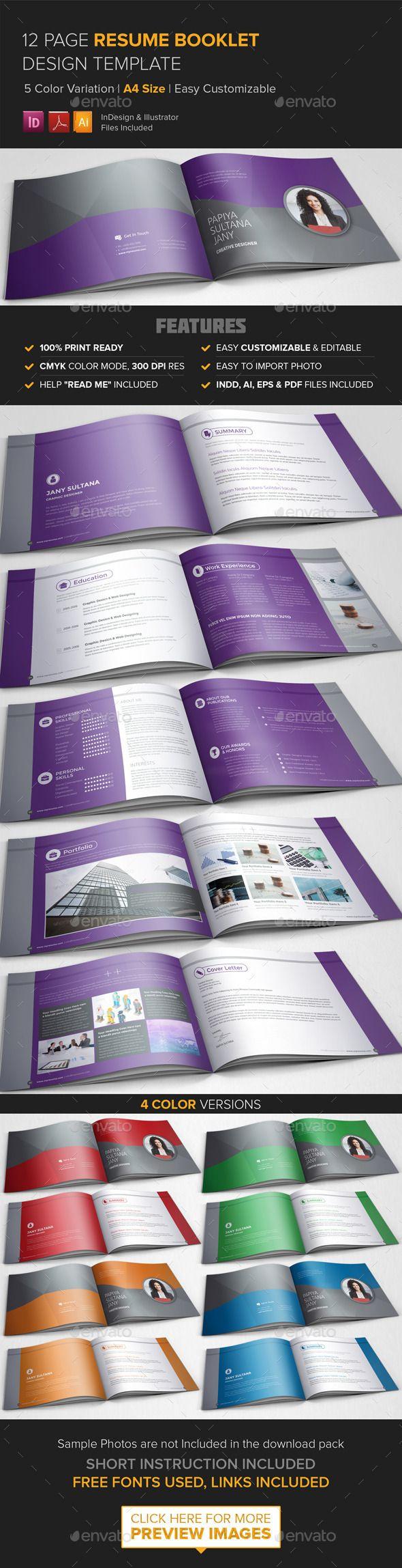 Resume Booklet Design (InDesign) | Pinterest