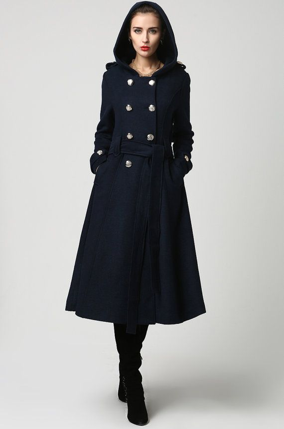 1165f6f94ce Dark blue wool coat winter women coat long coat 1114 by xiaolizi