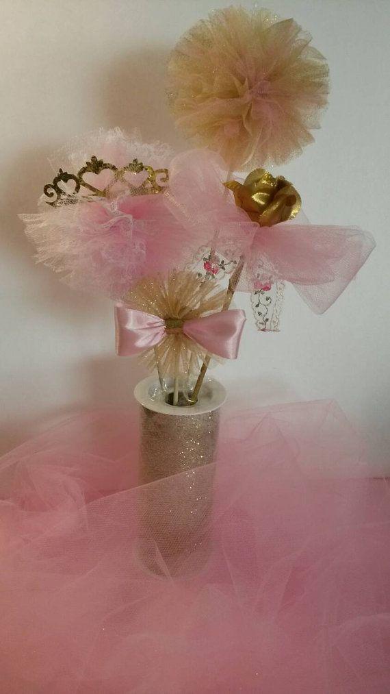 Pink gold centerpiece first birthday princess tiara crown