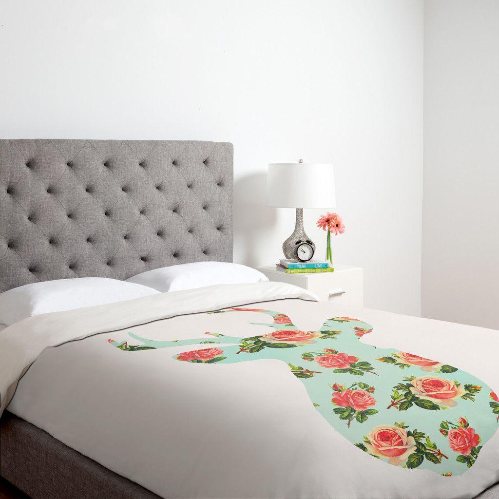 Allyson Johnson Floral Deer Silhouette Duvet Cover | DENY Designs Home Accessories #home #homedecor #denydesigns