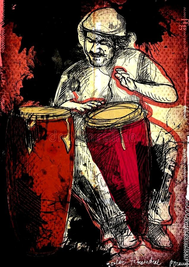 Conga player. Afro-Caribbean rhythms from passionate drummer. A hand drawn illus ,