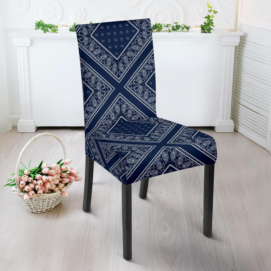 Navy Blue Bandana Dining Chair Covers 4 Patterns