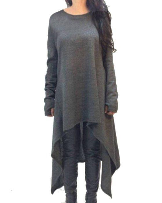 ZANZEA Damen Unregelmäßige Strick Oversize Langarm Pullikleid Longshirt Top Minikleid Grau EU 36/Etikettgröße S