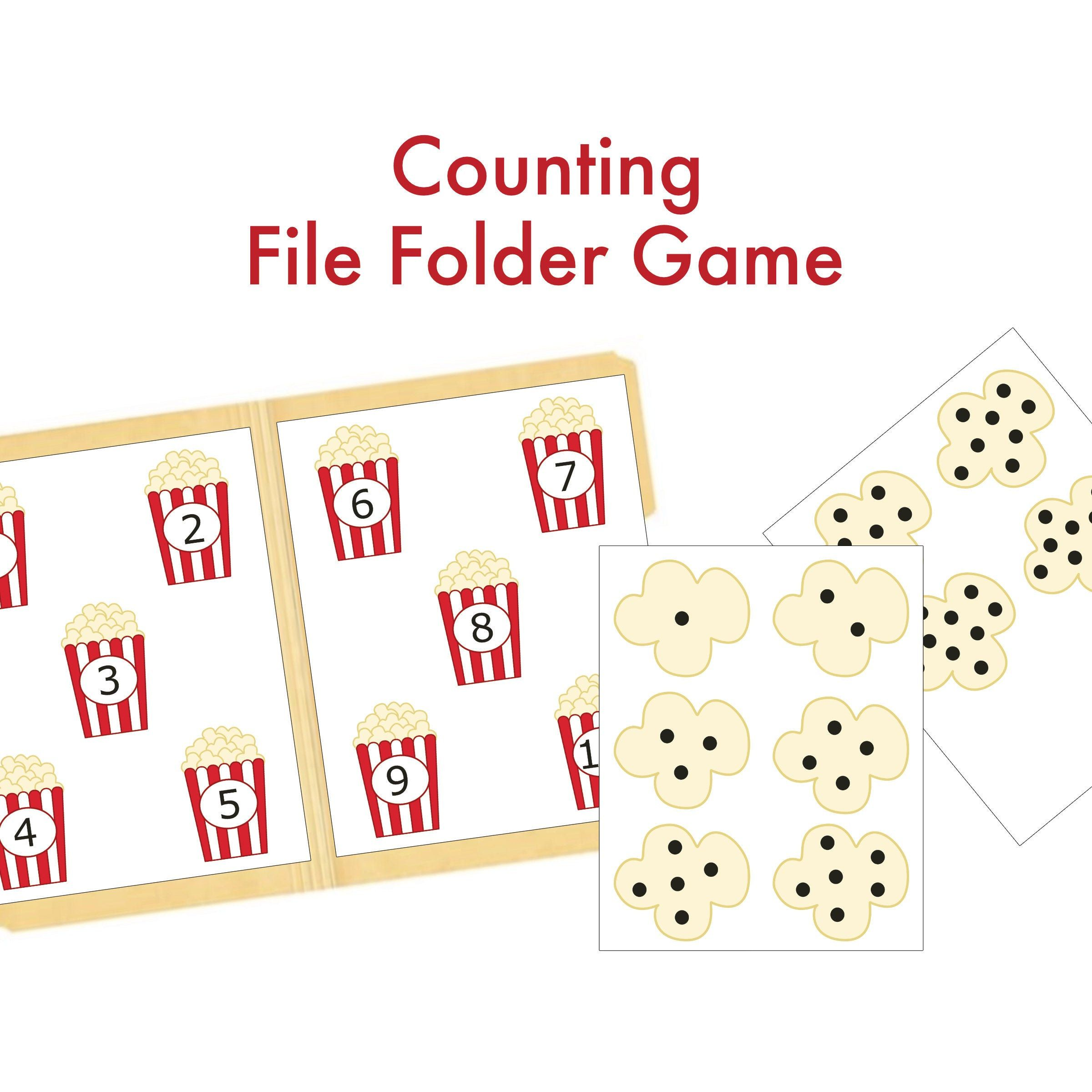 Counting Popcorn File Folder Game Preschool Learning Game