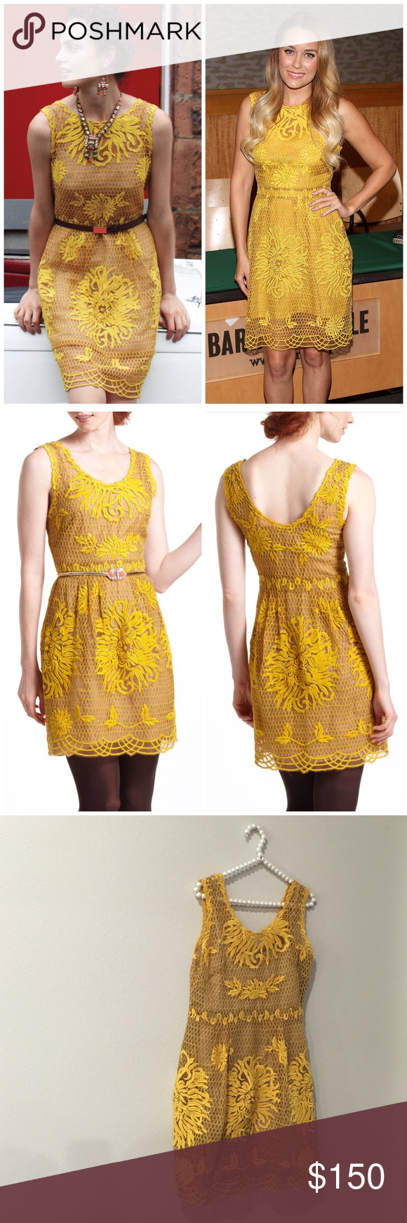 0cc626267e3e Yoana Baraschi Anthropologie Honeycomb Dress Absolutely STUNNING and in  beautiful condition! As seen on Lauren Conrad. Yellow-gold honeycomb +  floral lace.