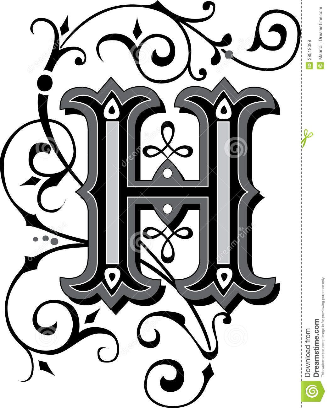 beautiful ornament letter h ornate english alphabets grayscale 38518098jpg 10461300 digital art pinterest