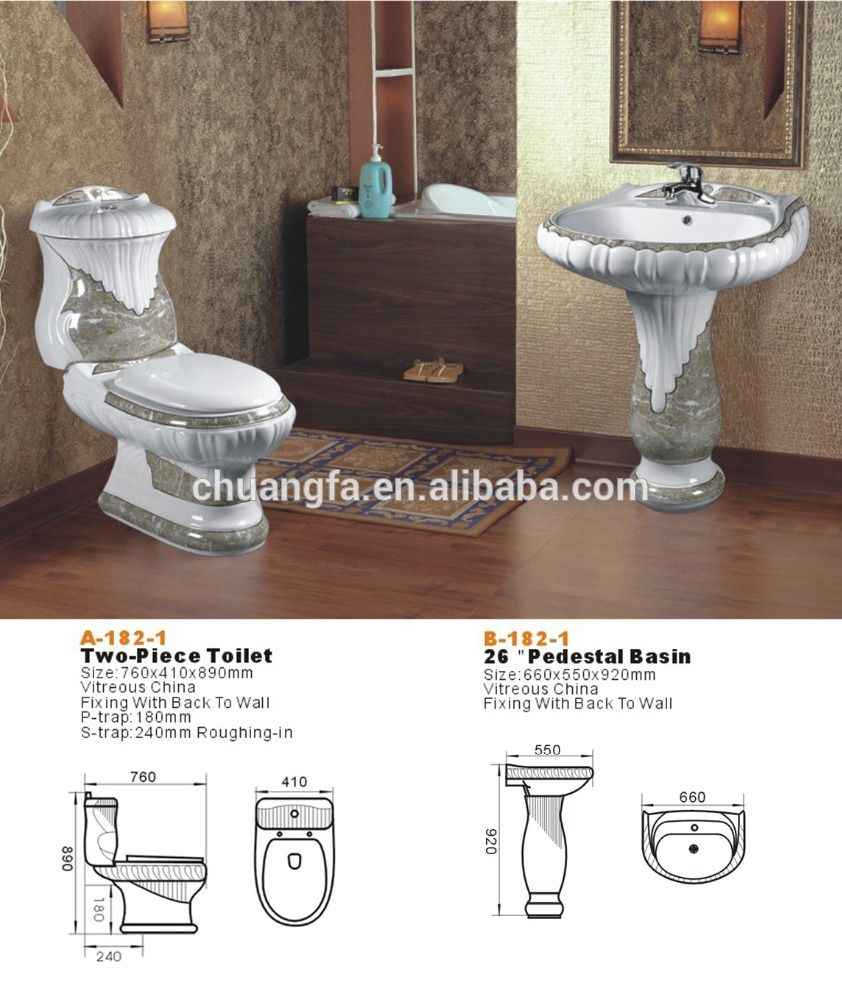 Chaozhou Golden Custom Printed Decoration Wc Two Piece Toilet Sets