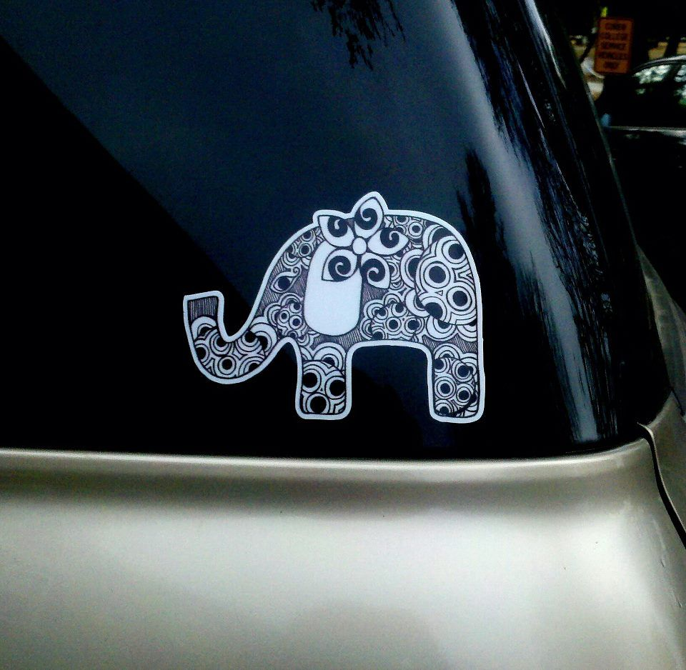 Elephant car sticker than I drew and had made. I sell them for $10. They're a little bit bigger than my hand. If you want one let me know! jessica.mckenzie@coker.edu