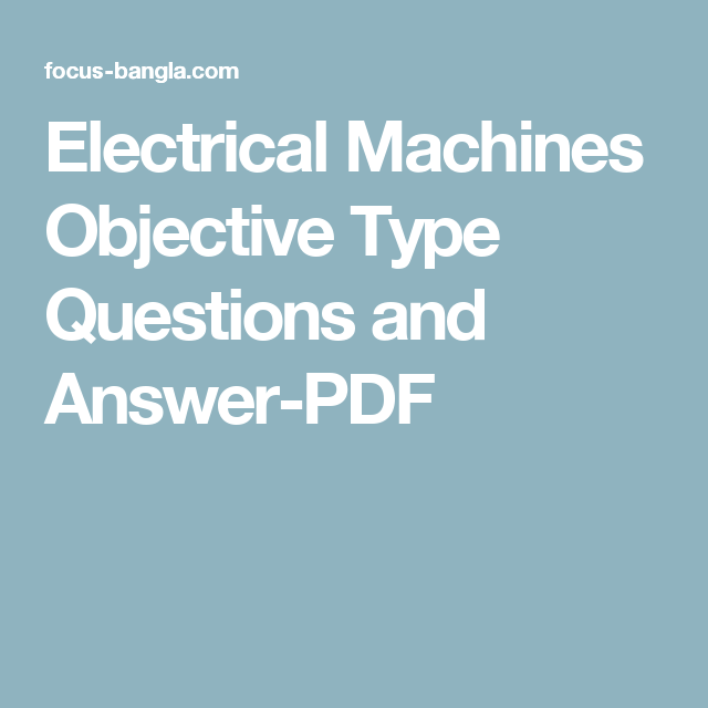 Electrical Machines Objective Questions Pdf