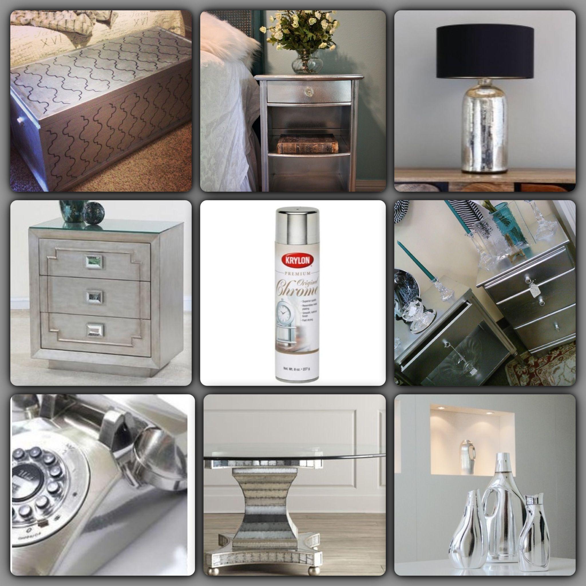 Chrome spray paint decoraci n pinterest dormitorios y decoraci n de unas - Muebles pintados en plata ...