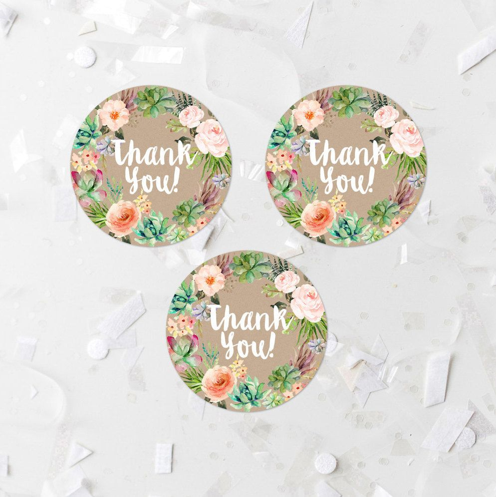 Baby Shower Favors Sticker Labels ~ Succulent thank you round tags two inch favor label
