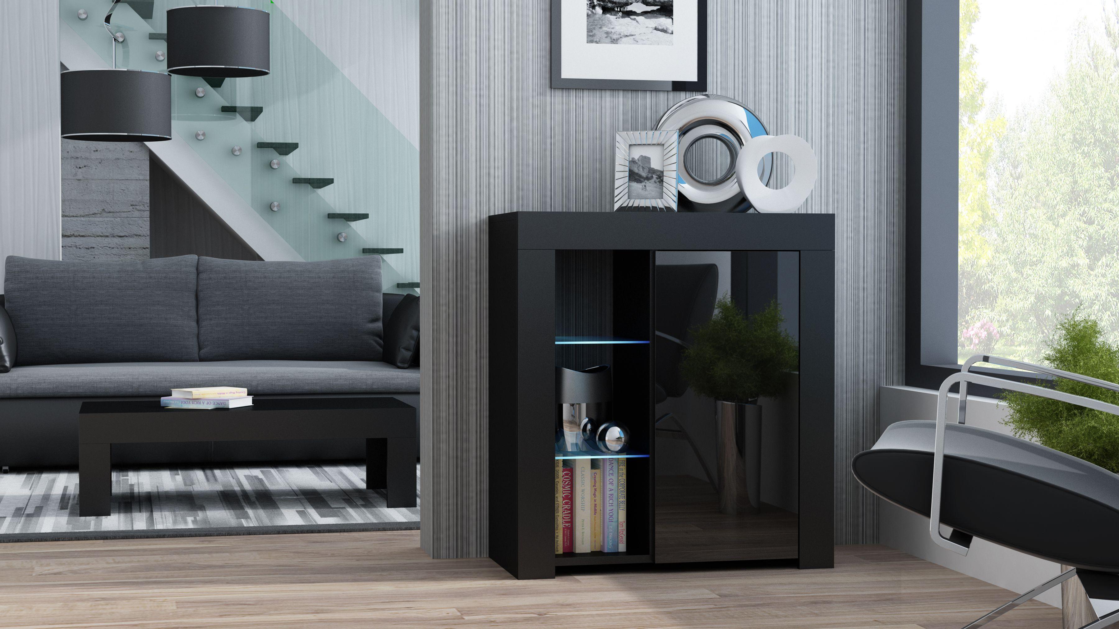 Milano sideboard d black drawer storage unit drawer unit and