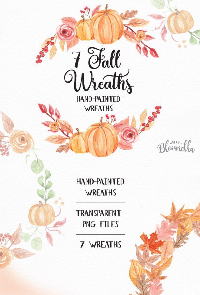7 Watercolour Pumpkin Fall Wreaths Clipart Autumn Harvest