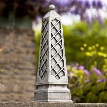 Amazon.com: Campania International Deauville Obelisk Cast Stone Garden  Statue, Alpine Stone, 9.5L X 9.5W X 31.75H In.   Alpine Stu2026 | Ideas For The  Yard ...