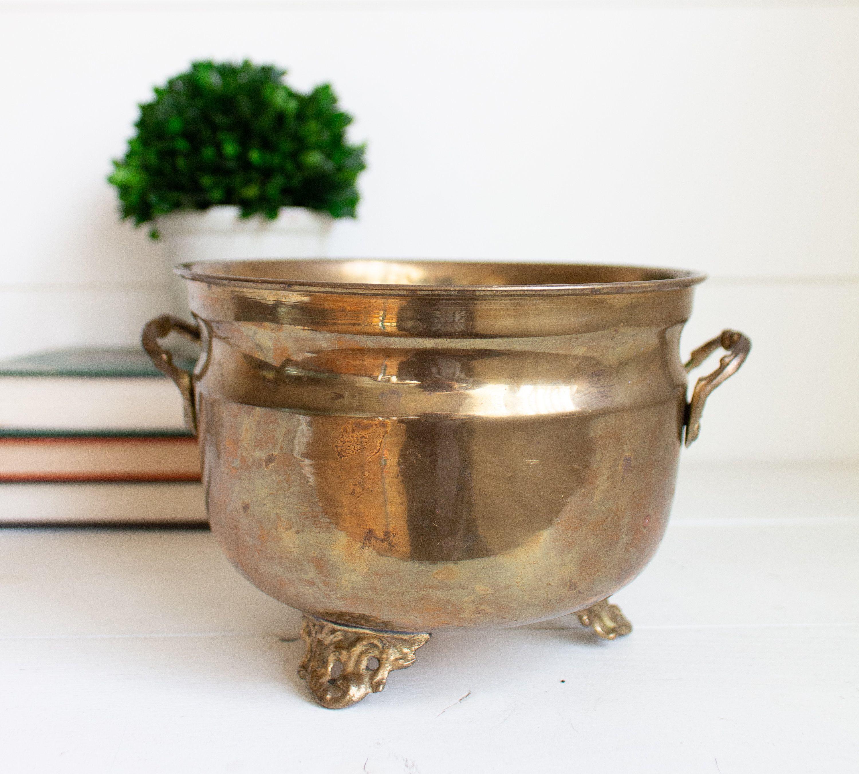 Vintage Brass Pot Large Brass Vintage Pot Planter Bowl Brass Pot Vintage Brass Flower Pots