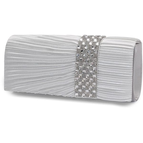 Mascara Silver Plus Size Embellished pleated satin clutch ($58) ❤ liked on Polyvore featuring bags, handbags, clutches, plus size, silver, chain strap purse, chain strap handbag, sparkly purses, silver clutches and flap purse