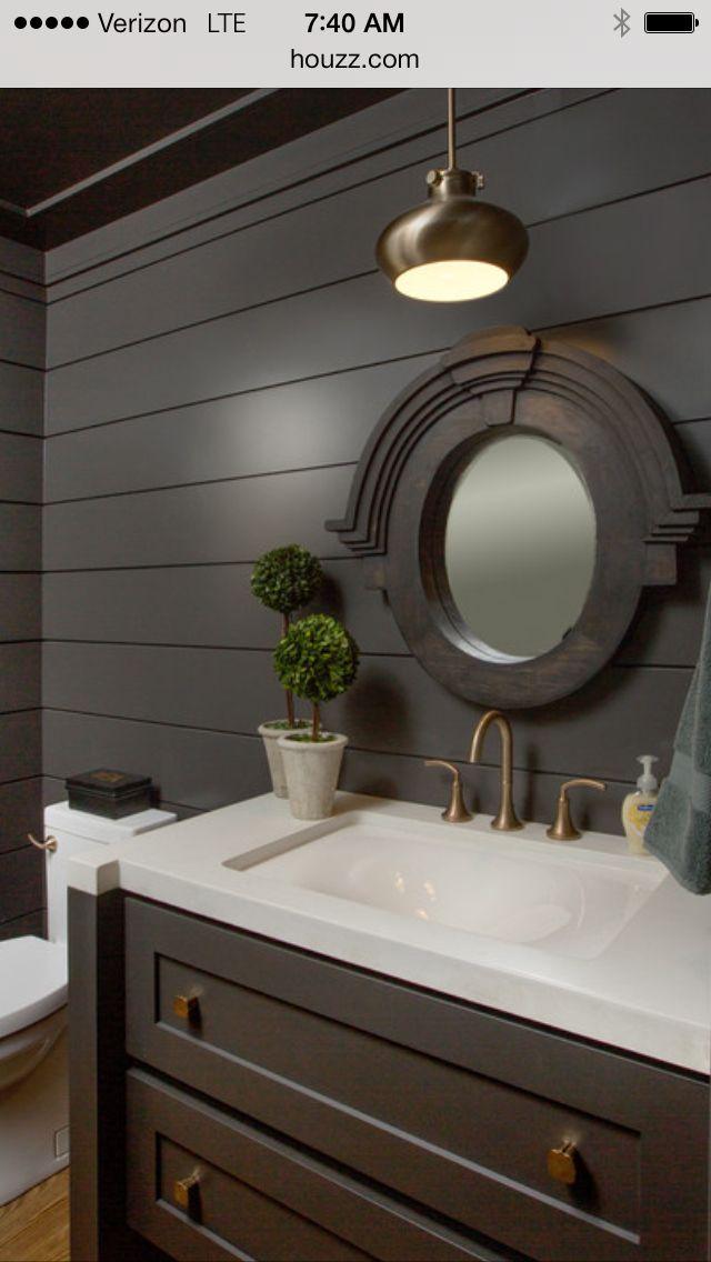 Horizontal Tongue And Groove Bathroom Styling Craftsman Style Dark Grey Walls