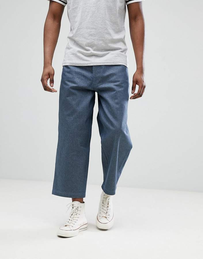 Asos Design Wide Leg Cropped Jeans In Raw Gray Mens Fashion
